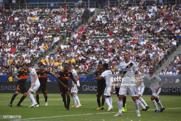 A general view of action is seen prior to a corner kick during the MLS match between the Houston Dynamo and the Los Angeles Galaxy at StubHub Center...
