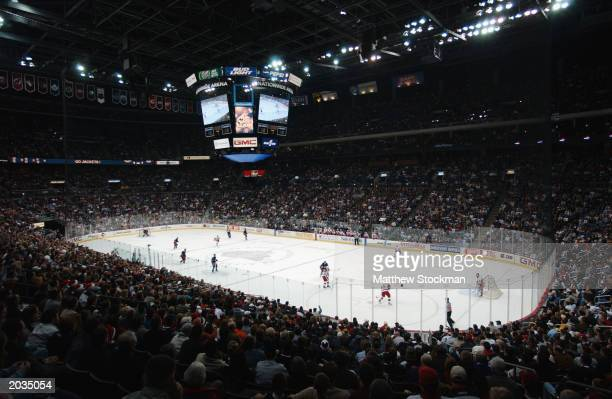 General view of action of the game between the Columbus Blue Jackets and the Detroit Red Wings on December 23, 2002 at Nationwide Arena in Columbus,...
