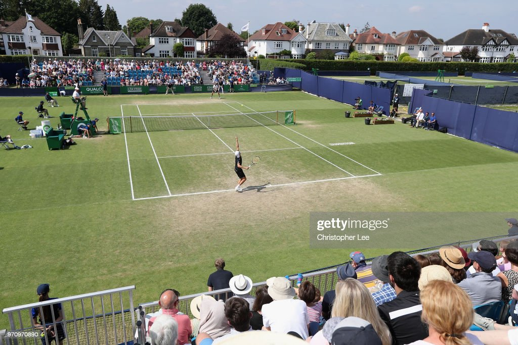 General view of action on centre court during the Mens Final match on Day 09 of the Fuzion 100 Surbition Trophy on June 10, 2018 in London, United Kingdom.