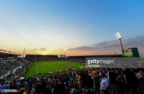 General view of action on Day Two of the HSBC World Rugby Sevens Series - Dubai at The Sevens Stadium on December 6, 2019 in Dubai, United Arab...
