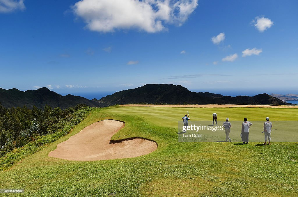General view of action on the 3rd hole during day three of the Madeira Islands Open - Portugal - BPI at Club de Golf do Santo da Serra on August 1, 2015 in Funchal, Madeira, Portugal.