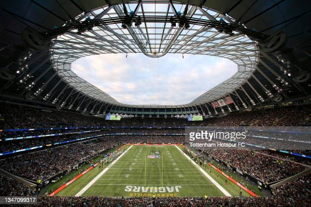 General view of action underway during the NFL London 2021 match between Miami Dolphins and Jacksonville Jaguars at Tottenham Hotspur Stadium on...