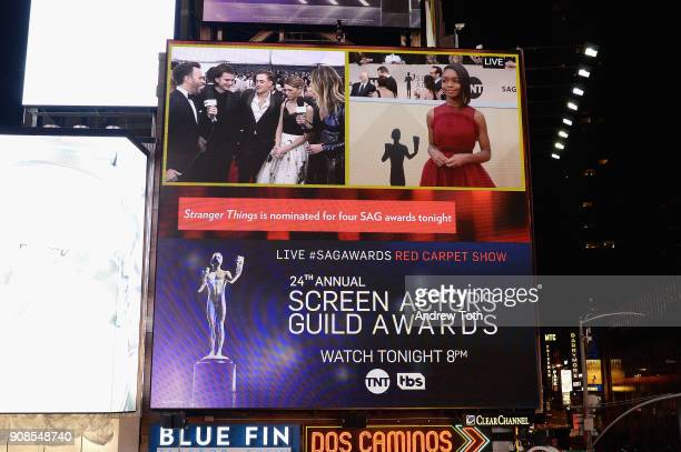 A general view of actors Joe Keery Dacre Montgomery Natalia Dyer and Marsai Martin during the 24th Annual Screen Actors Guild Awards preshow viewing...