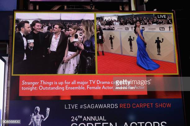 A general view of actors Joe Keery Dacre Montgomery Natalia Dyer and Susan Kelechi Watson during the 24th Annual Screen Actors Guild Awards preshow...