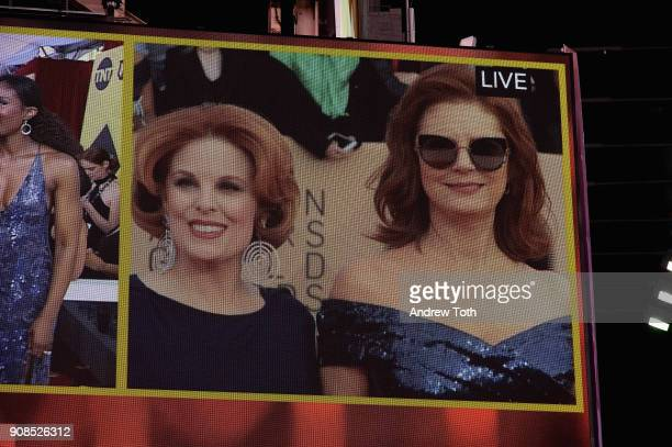 A general view of actors Kat Kramer and Susan Sarandon during the 24th Annual Screen Actors Guild Awards preshow viewing in Times Square on January...