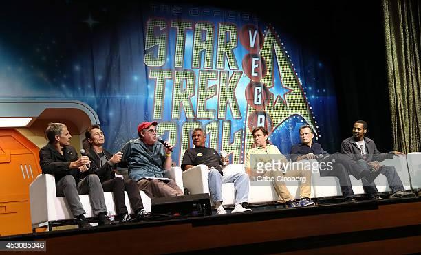 A general view of actors Scott Bakula Dominic Keating and John Billingsley Tucker Smallwood Connor Trinneer Steven Culp and Anthony Montgomery speak...