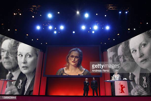"""General view of actress Meryl Streep as she speaks onstage after she receives the Golden Honorary Bear award for Lifetime Achievement prior to """"The..."""