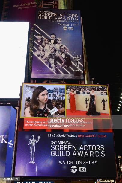 A general view of actress Zoe Kazan during the 24th Annual Screen Actors Guild Awards preshow viewing in Times Square on January 21 2018 in New York...