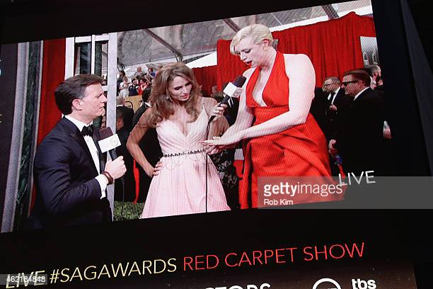 General view of actresses Danielle Demski and Gwendoline Christie during TNT's 21st Annual Screen Actors Guild Awards preshow viewing at Times Square...