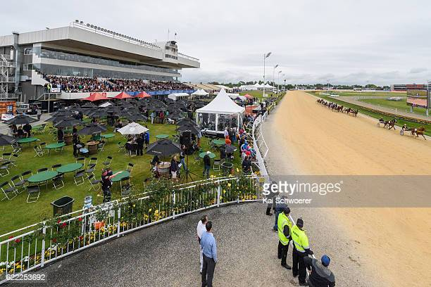 A general view of Addington Raceway during Race 9 Haras des Trotteurs Dominion Trot at Addington Raceway on November 11 2016 in Christchurch New...