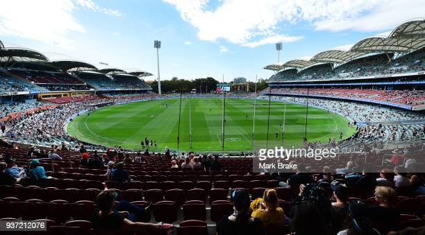General view of Adelaide Oval as players warmup before the round one AFL match between the Port Adelaide Power and the Fremantle Dockers at Adelaide...