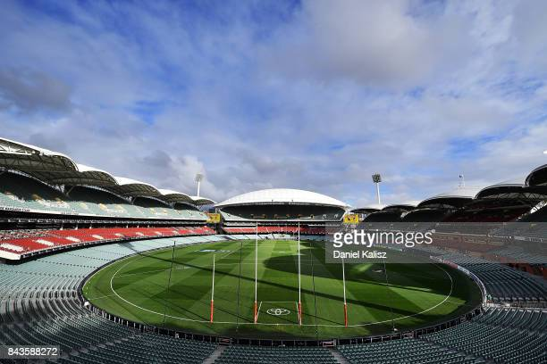 General view of Adelaide Oval from the Northern End prior to the AFL First Qualifying Final match between the Adelaide Crows and the Greater Western...