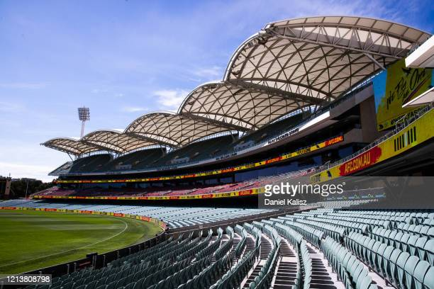 General view of Adelaide Oval prior to round 1 AFL match between the Adelaide Crows and the Sydney Swans at Adelaide Oval on March 21, 2020 in...