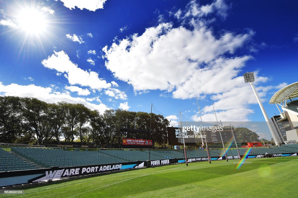 A general view of Adelaide Oval prior to the round two AFL match between the Port Adelaide Power and the Fremantle Dockers at Adelaide Oval on April 2, 2017 in Adelaide, Australia.