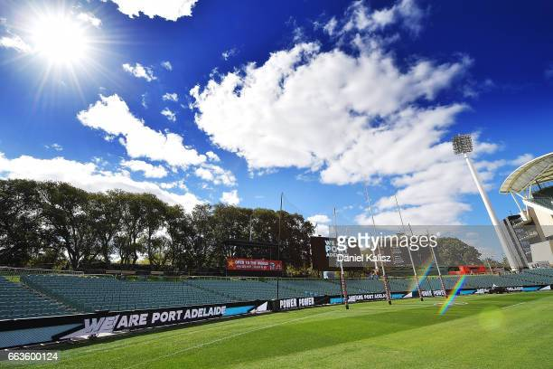 General view of Adelaide Oval prior to the round two AFL match between the Port Adelaide Power and the Fremantle Dockers at Adelaide Oval on April 2,...