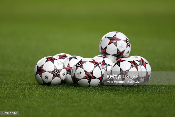 General view of adidas Champions League match balls on the pitch