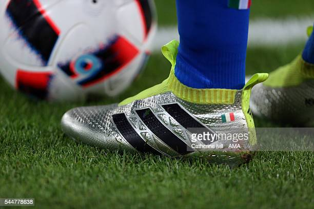 General view of Adidas football boots with the Italy flag on during the UEFA Euro 2016 quarter final match between Germany and Italy at Stade Matmut...