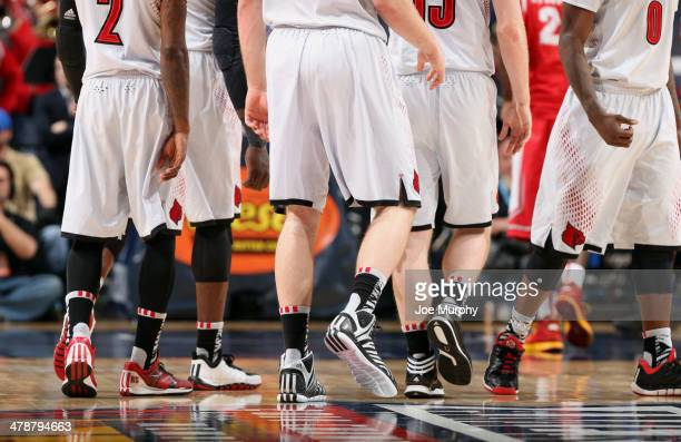 A general view of Adidas sneakers during a game between the Houston Cougars and the Louisville Cardinals during the semifinals of the American...