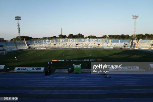 General view of Adriatico Stadium prior the serie B match between Pescara Calcio and FC Empoli at Adriatico Stadium on June 29, 2020 in Pescara,...