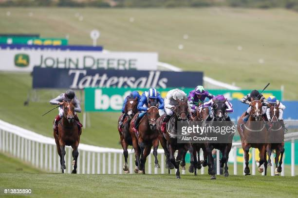 A general view of advertising branding at Newmarket racecourse on July 13 2017 in Newmarket England