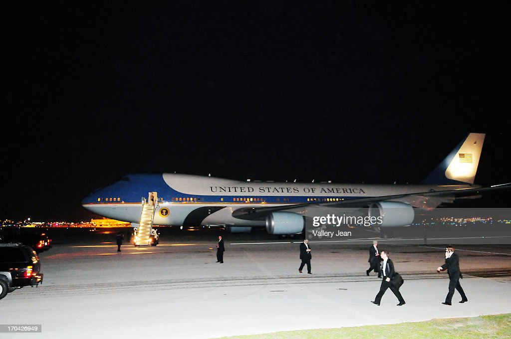 General view of AF1 prepares to depart after President Barack Obama boarded for White House from Miami after attending a private DNC fundraising event. POTUS depart at Miami International Airport on June 12, 2013 in Miami, Florida.