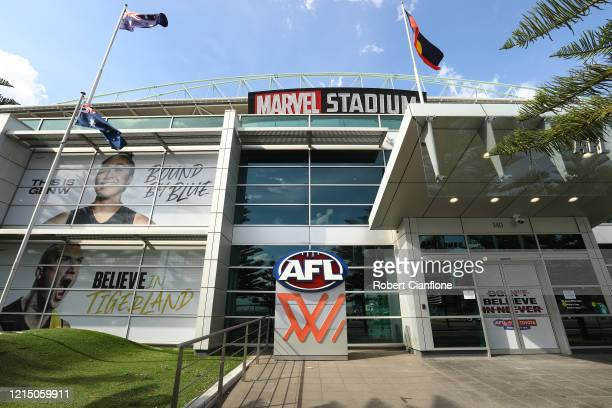 General view of AFL House and Marvel Stadium after the AFL season was suspended, on March 27, 2020 in Melbourne, Australia. Due to the coronavirus...