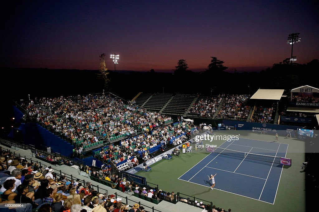 A general view of Agnieszka Radwanska of Poland serving to Angelique Kerber of Germany during Day 5 of the Bank of the West Classic at Stanford University Taube Family Tennis Stadium on August 7, 2015 in Stanford, California.