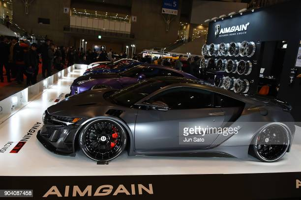 A general view of AIMGAIN race car wheel displayed during Tokyo Auto Salon 2018 at Makuhari Messe on January 12 2018 in Chiba Japan