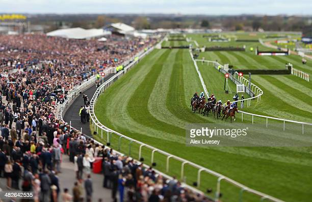 A general view of Aintree Racecourse is seen during the International Festival For Business 2014 Top Novices' Hurdle Race at Aintree Racecourse on...
