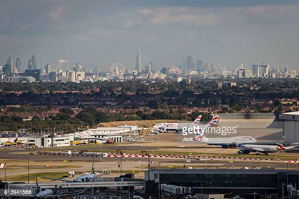 A general view of aircraft at Heathrow Airport in front of the London skyline on October 11 2016 in London England The UK government has said it will...