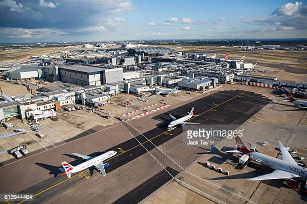 A general view of aircraft at Heathrow Airport on October 11 2016 in London England The UK government has said it will announce a decision on airport...