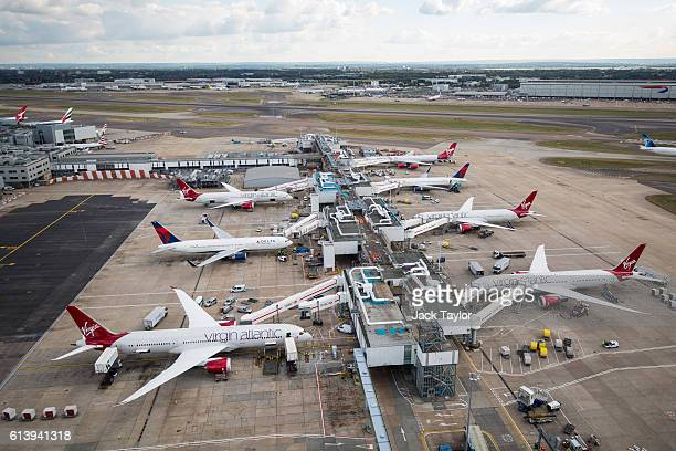 A general view of aircraft at Terminal 3 of Heathrow Airport on October 11 2016 in London England The UK government has said it will announce a...
