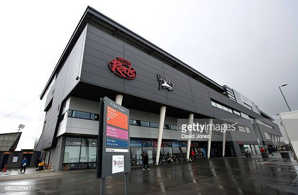 A general view of AJ Bell Stadium home of Sale Sharks ahead of the Aviva Premiership match between Sale Sharks and Northampton Saints on March 22...