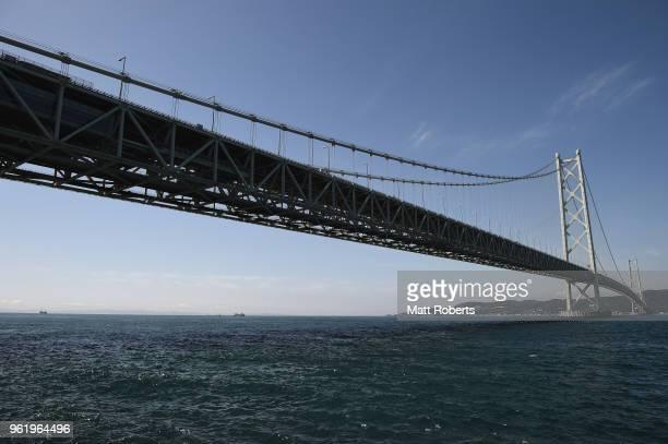 A general view of Akashi Kaikyo Bridge on May 24 2018 in Kobe Hyogo Japan AkashiKaikyo Bridge is the longest suspension bridge in the world The...