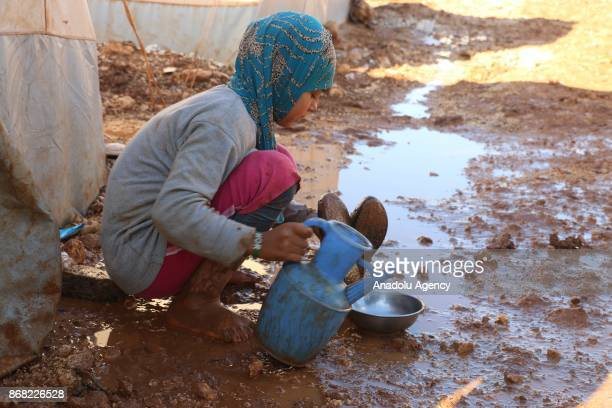 A general view of al Firat tent city where hosts Internally displaced Syrians after heavy rains in Idlib Syria on October 30 2017 Ahead of Eid al...