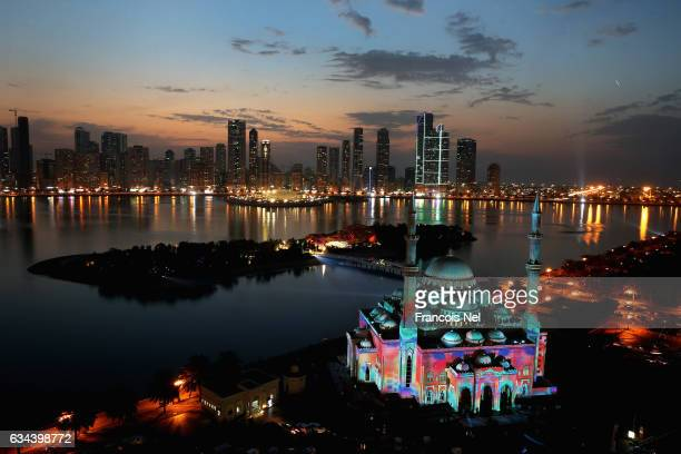 A general view of Al Noor Mosque during the Sharjah Light Festival on February 9 2017 in Sharjah United Arab Emirates
