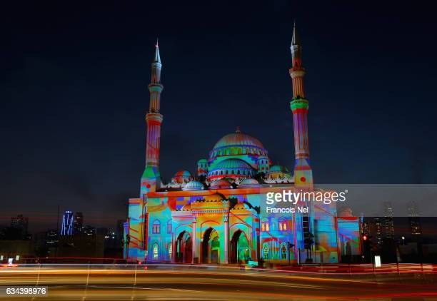 A general view of Al Noor Mosque during the Sharjah Light Festival on February 8 2017 in Sharjah United Arab Emirates