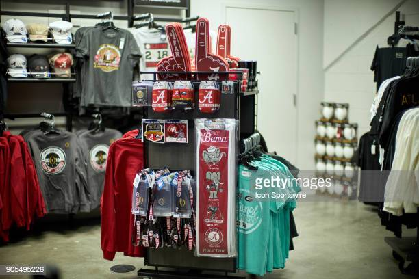 A general view of Alabama Crimson Tide and Georgia Bulldogs fans paraphernalia are seen at a CFP gift shop during the College Football Playoff...