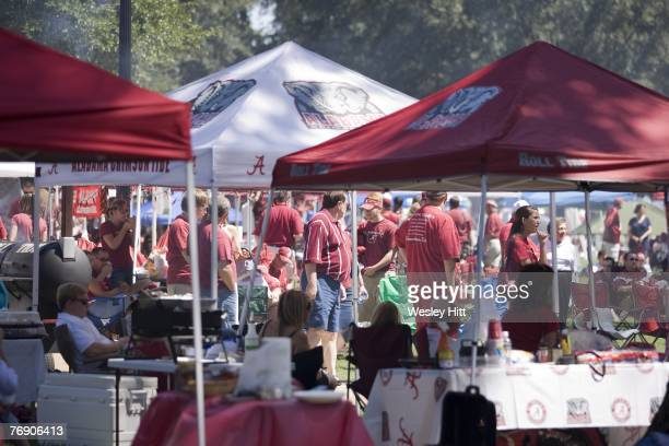 General view of Alabama Crimson Tide fans tailgating before a game against the Arkansas Razorbacks at BryantDenny Stadium on September 15 2007 in...
