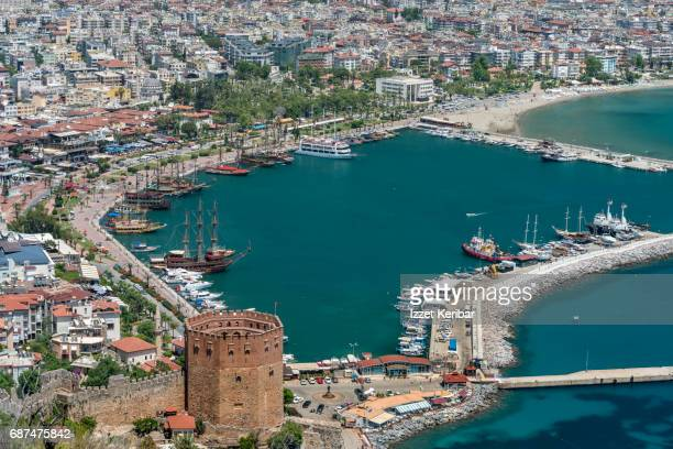 General view of Alanya from above road leading to the fortress. Antalya Turkey