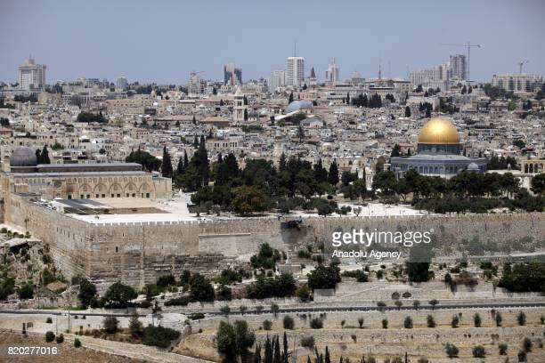 A general view of AlAqsa Mosque after Israeli Government restricted entrance of under 50yearold Palestinians to the the AlAqsa Mosque Compound and...