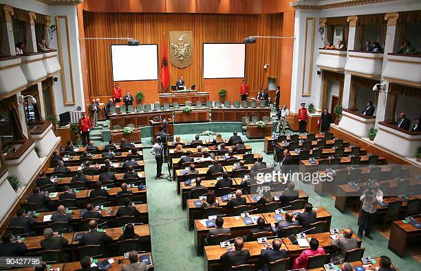 A general view of Albanian parliament is pictured on September 7 2009 in Tirana showing empty seats on the right left empty by Albania's main...