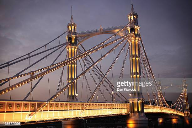 A general view of Albert Bridge over the River Thames on February 6 2012 in London England Albert Bridge will be the start point for the flotilla of...