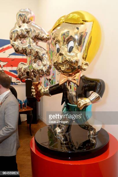 A general view of Alec Monopoly's 'Breaking the Bank on Bond Street' exhibition launch party at the Eden Fine Art Gallery on May 31 2018 in London...