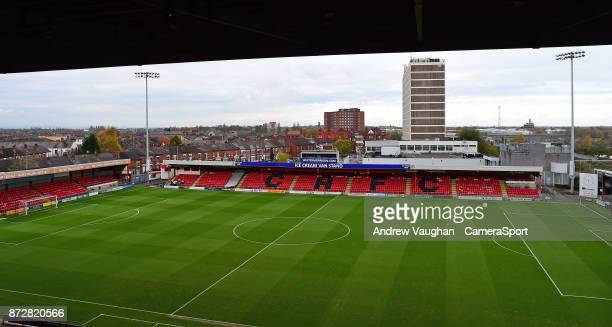 A general view of Alexandra Stadium home of Crewe Alexandra FC prior to the Sky Bet League Two match between Crewe Alexandra and Lincoln City at The...