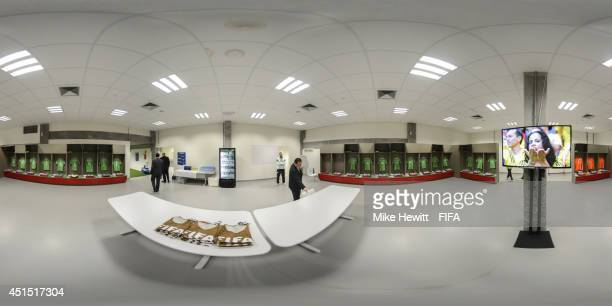 A general view of Algeria dressing room before the 2014 FIFA World Cup Brazil Round of 16 match between Germany and Algeria at Estadio BeiraRio on...