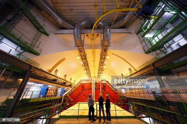 A general view of ALICE cavern and detector during a behind the scenes tour at CERN the World's Largest Particle Physics Laboratory on April 19 2017...
