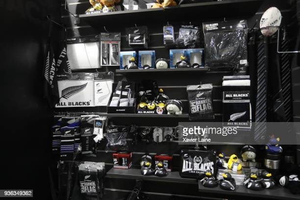 A general view of All Blacks merchandise and supporters gear available in the retail store on March 20 2018 in Auckland New Zealand