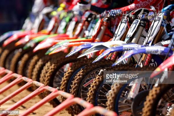 A general view of all the bikes lined up on the starting line during the Red Bull Redbud National MX race on July 07 at The Redbud National in...