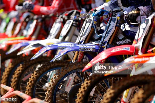 A general view of all the front fenders lined up at the starting line during the Red Bull Redbud National MX race on July 07 at The Redbud National...